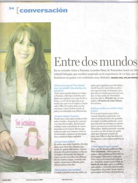 """Entrevista en revista """"Ellas"""", La Prensa, 22 de agosto de 2008."""